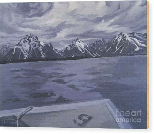 Wood Print featuring the painting Boating Jenny Lake, Grand Tetons by Erin Fickert-Rowland