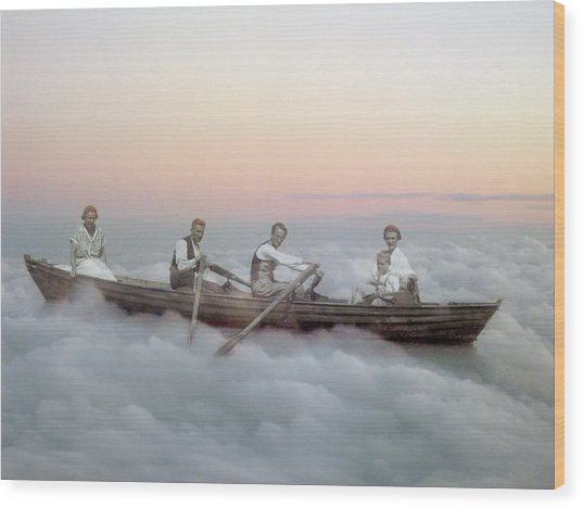 Boating On Clouds Wood Print