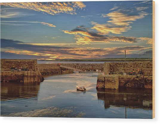 Boatman At Mullaghmore Harbour Wood Print