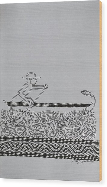 Boatman Wood Print by Raul Agner