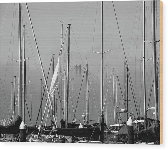 Boats And A Bridge On The Bay Wood Print