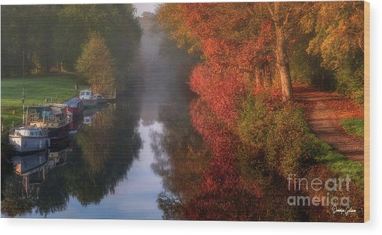 Boats And Channel Wood Print