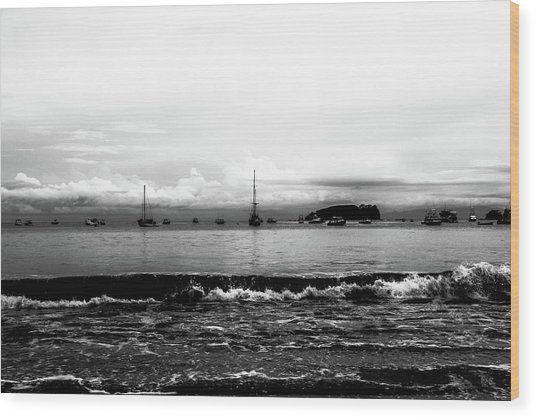 Boats And Clouds Wood Print