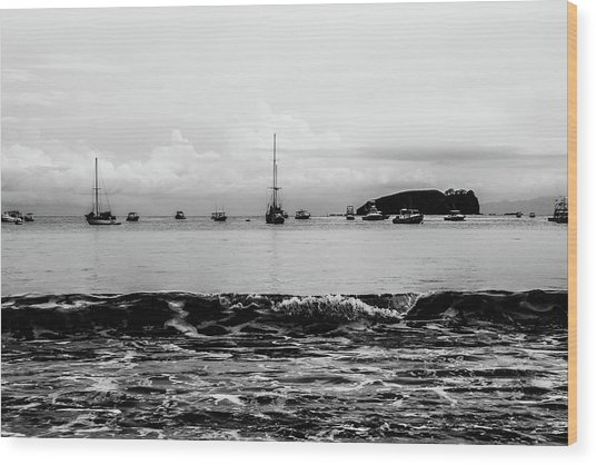 Boats And Waves 2 Wood Print