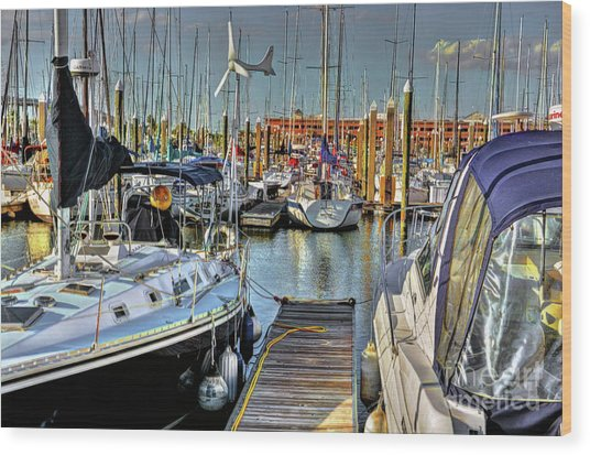 Boats At Kemah Wood Print