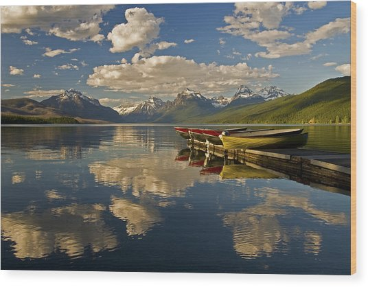 Boats At Lake Mcdonald Wood Print