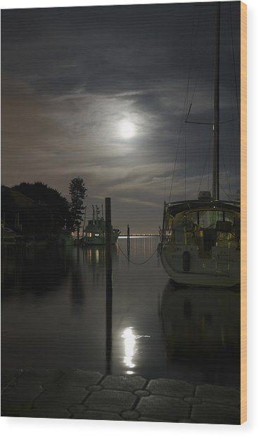 Boats At Moon Rise Wood Print