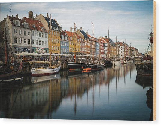Boats At Nyhavn In Copenhagen Wood Print