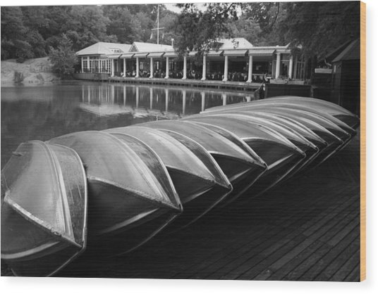 Boats At The Boat House Central Park Wood Print