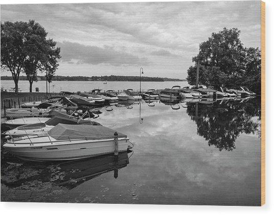 Boats At Wayzata Wood Print