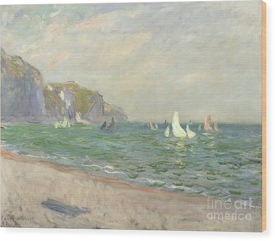 Boats Below The Cliffs At Pourville Wood Print