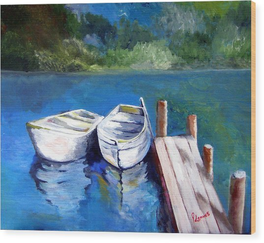 Boats Docked Wood Print by Julie Lamons
