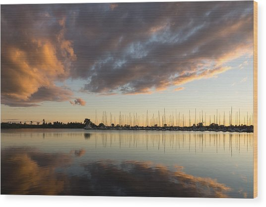 Boats And Clouds Summer Sunset Wood Print