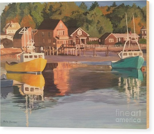 Boats In Kennebunkport Harbor Wood Print