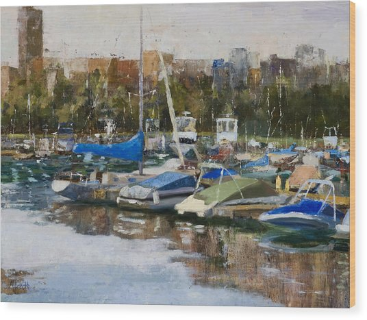 Boats In Montrose Harbor Wood Print by Nancy Albrecht