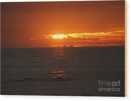 Boats In The Distance  Wood Print by Wendy  Coloma