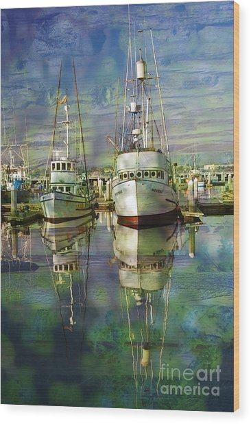 Boats In The Harbor Wood Print by Ronald Hoggard