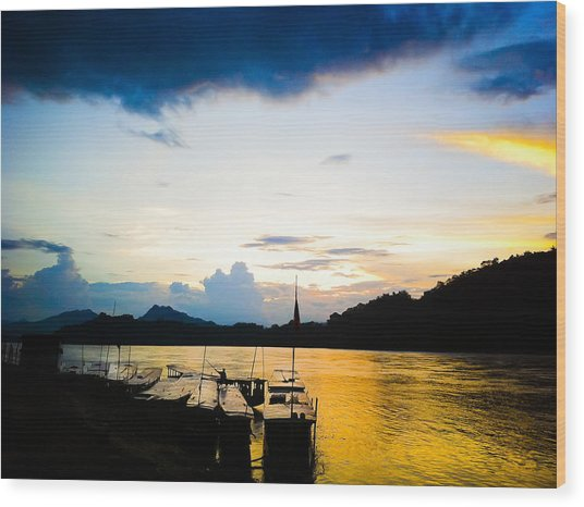 Boats In The Mekong River, Luang Prabang At Sunset Wood Print