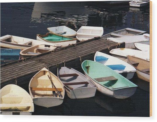 Boats In Waiting Wood Print