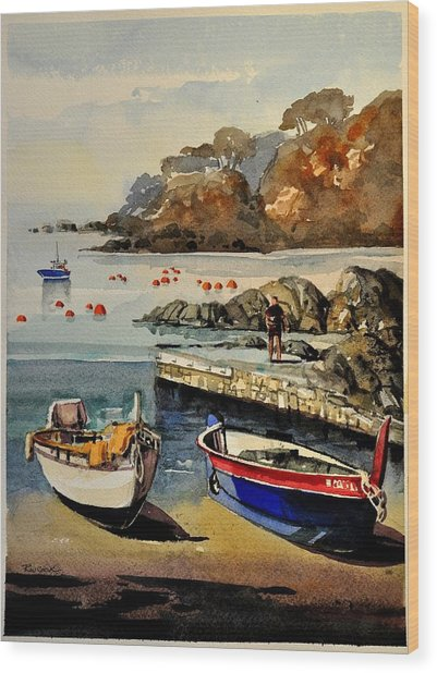 Boats Of Calella Spain Wood Print