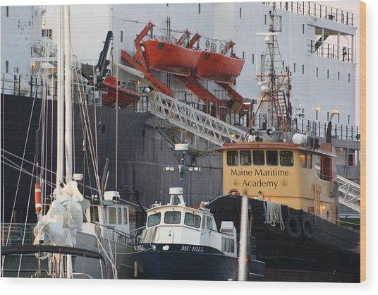 Boats Of Maine Maritime Academy Wood Print