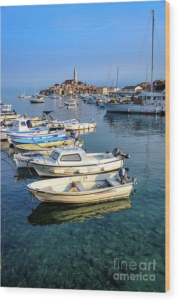 Boats Of The Adriatic, Rovinj, Istria, Croatia  Wood Print