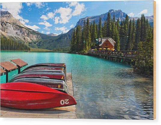Boats On A Dock  Emerald Lake Canada Wood Print by George Oze
