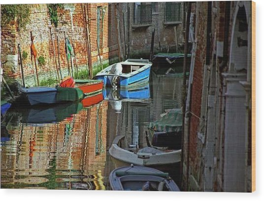 Boats On Canal In Venice Wood Print by Michael Henderson