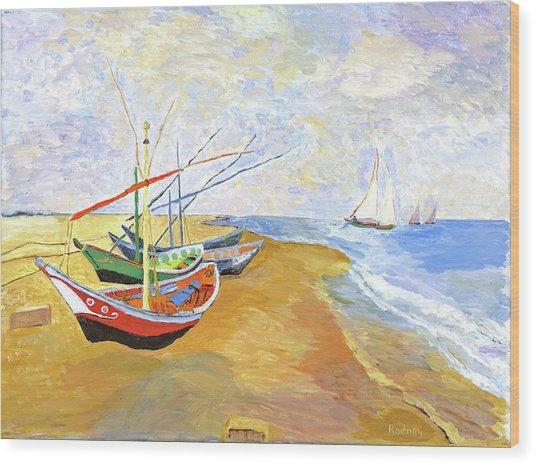 Boats On The Beach At Saintes-maries After Van Gogh Wood Print