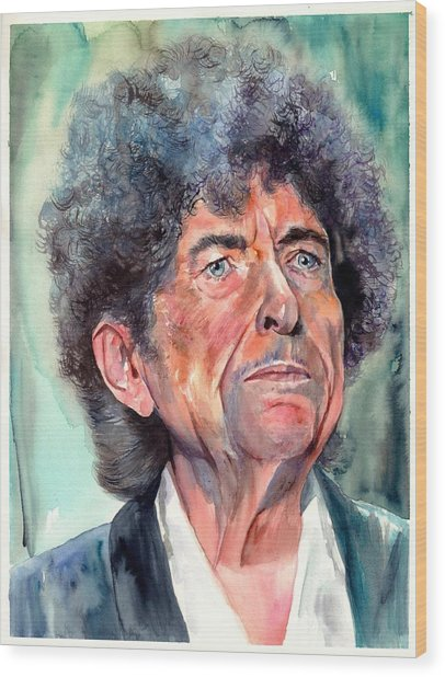 Bob Dylan Watercolor Portrait  Wood Print