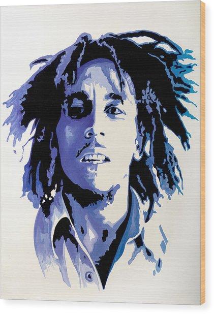 Bob Marley - Blue Wood Print