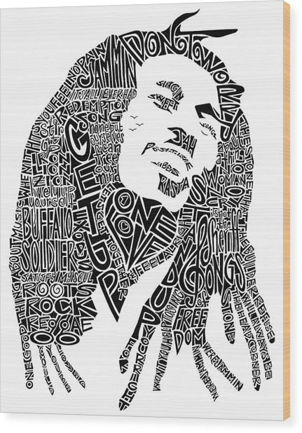 Bob Marley Black And White Word Portrait Wood Print