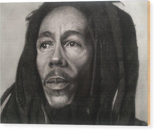 Bob Marley Drawing Wood Print