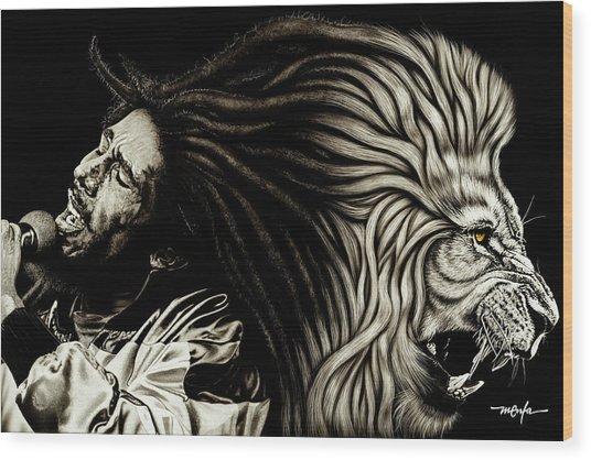 Bob Marley - Lion Heart Wood Print