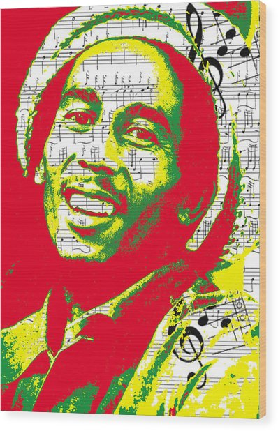 Bob Marley Musical Legend Wood Print