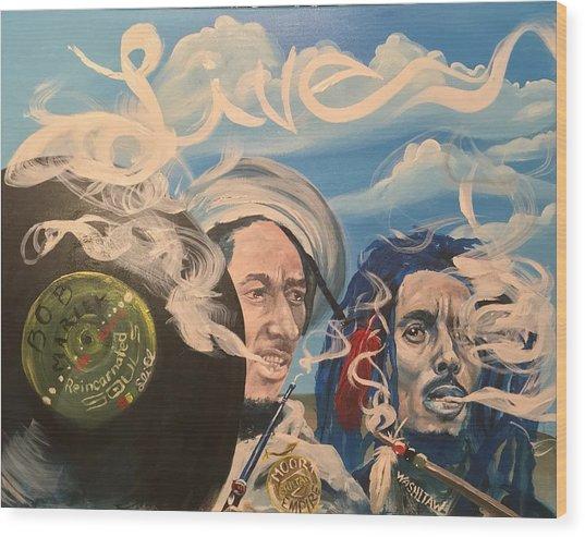 Bob Marley - Perpetual High Wood Print by Sean Ivy aka Afro Art Ivy