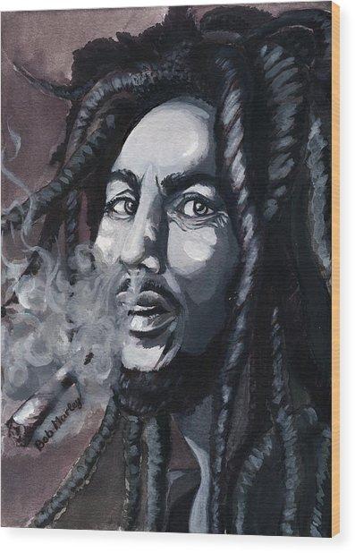 Bob Marley Portrait Wood Print