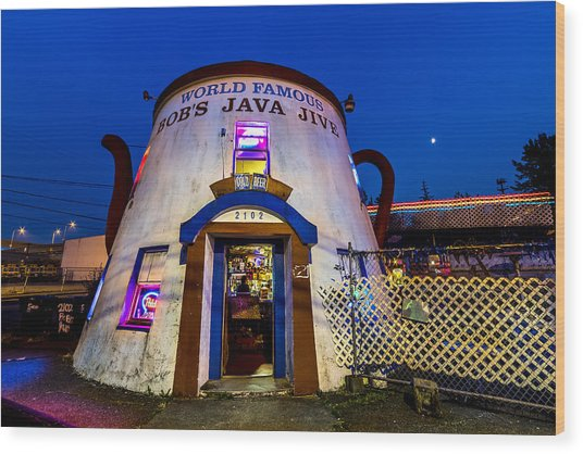 Bob's Java Jive - Historic Landmark During Blue Hour Wood Print