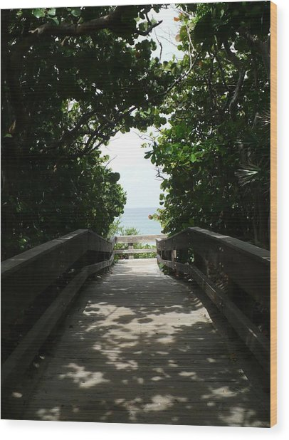 Boca Beach Boardwalk Wood Print