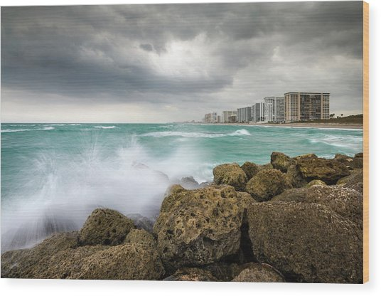 Boca Raton Florida Stormy Weather - Beach Waves Wood Print