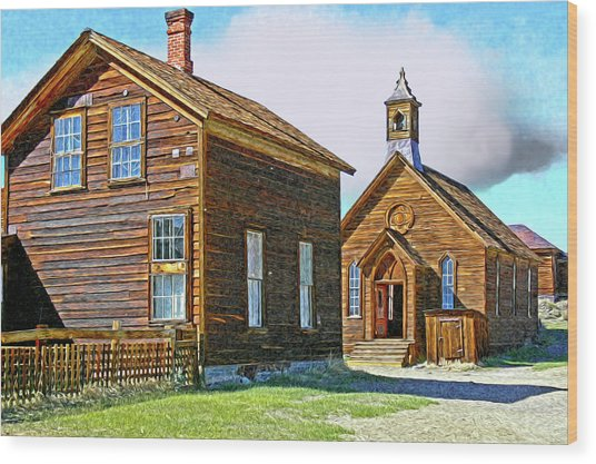 Bodie Church Stylized Eastern Sierra Photo Wood Print