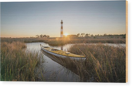 Bodie Island Kayak Wood Print