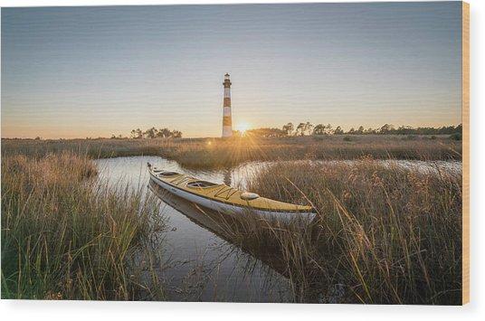 Bodie Island Kayak Wood Print by Michael Donahue