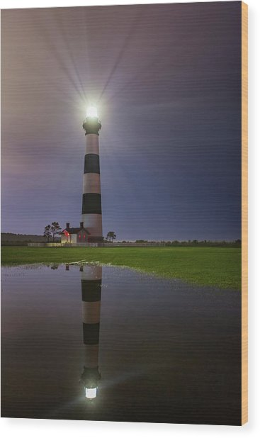 Bodie Island Lighthouse Reflection Wood Print