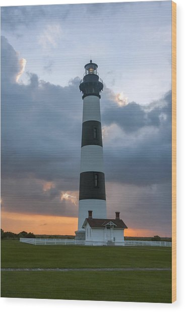 Bodie Island Lighthouse Sunset Wood Print