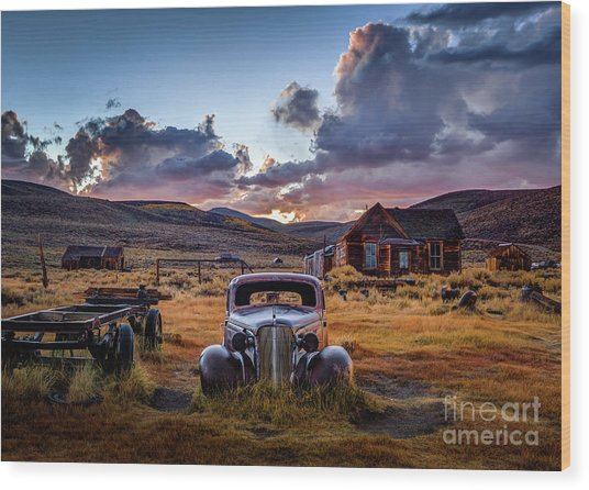 Bodie's 1937 Chevy At Sunset Wood Print