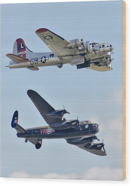 Boeing B-17g Flying Fortress And Avro Lancaster Wood Print