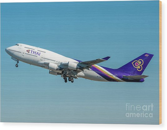 Boeing B747-400 Thai Airline Departed From Milano Malpensa Airport Wood Print