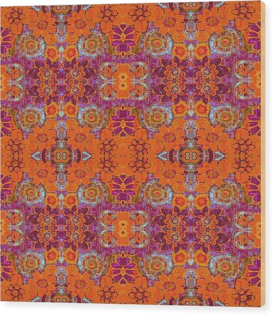 Boho Hippie Garden - Tangerine Wood Print