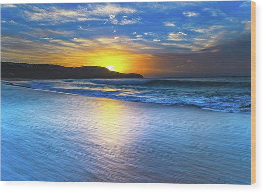 Bold And Blue Sunrise Seascape Wood Print